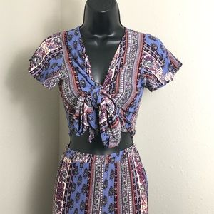 Bohemian Purple Crop Top & Pant Set